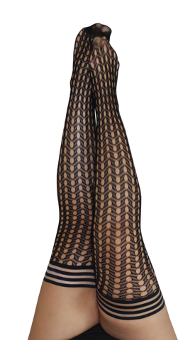 Kixies Circle Fishnet Thigh-High Stockings