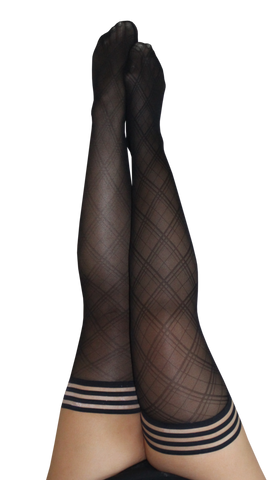 Kixies Sheer Diamond Pattern Thigh-High Stockings
