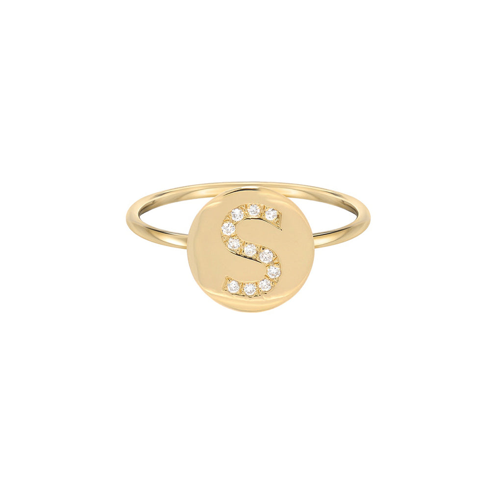 Diamond Initial Disc Ring