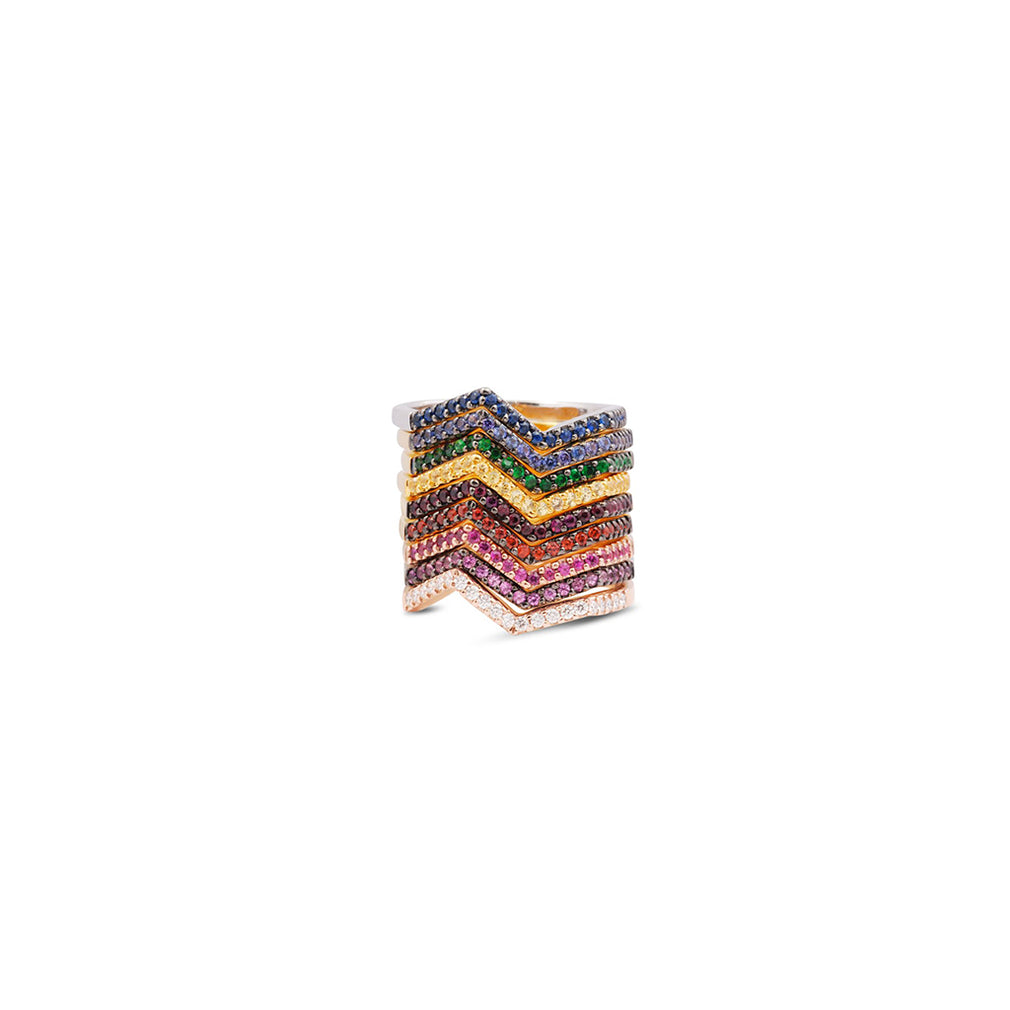 Origami Micro Rainbow Ziggy Rings