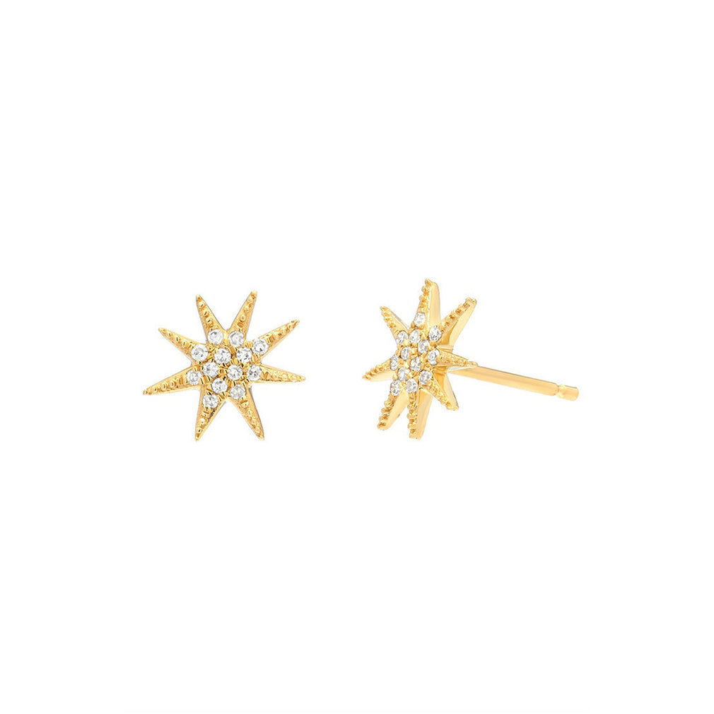 Diamond Sunburst Stud Earrings