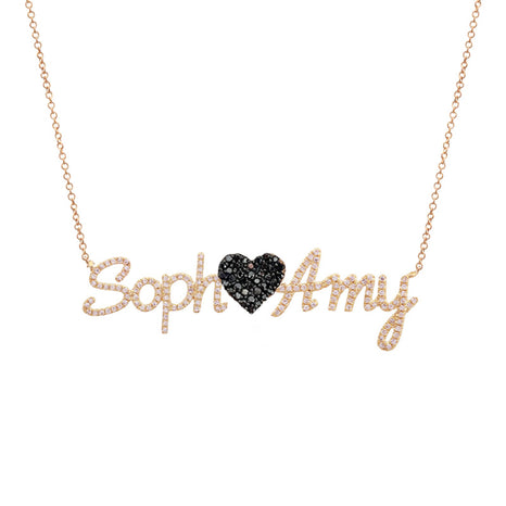 Pave Names and Heart Necklace