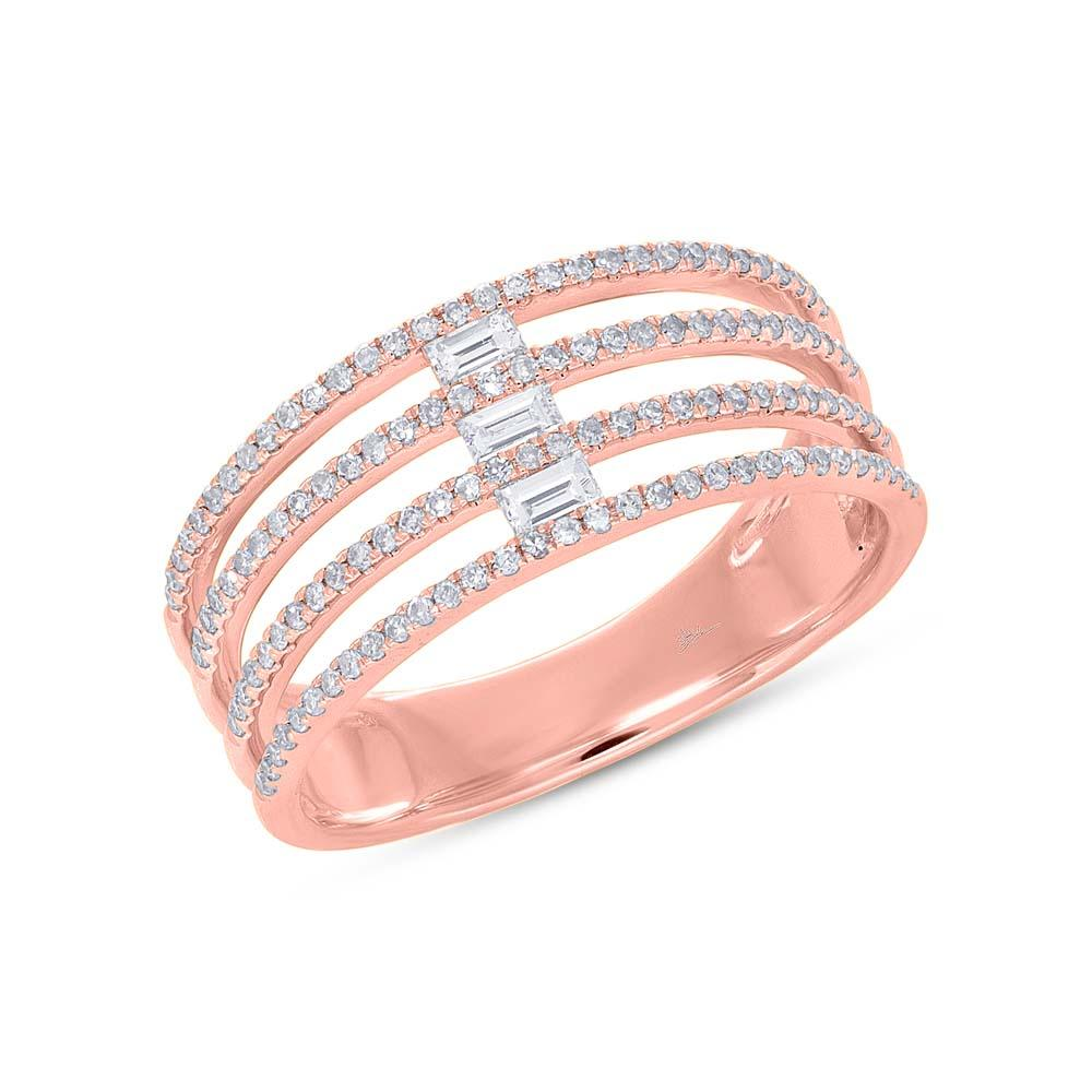 Pave and Baguette Four Row Ring