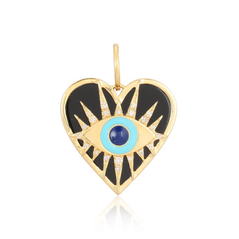 Evil Eye On Black Onyx Heart Charm