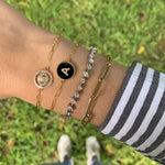 Circle Cutout Pave Evil Eye Bracelet