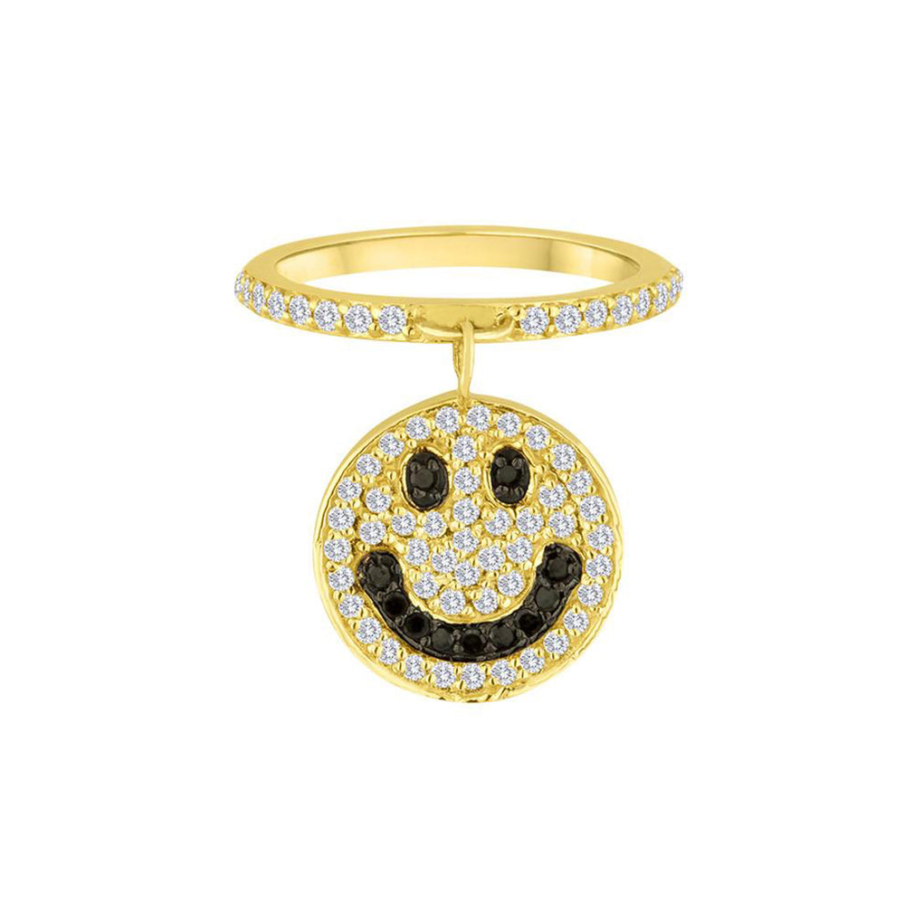 Large Smiley Charm Ring