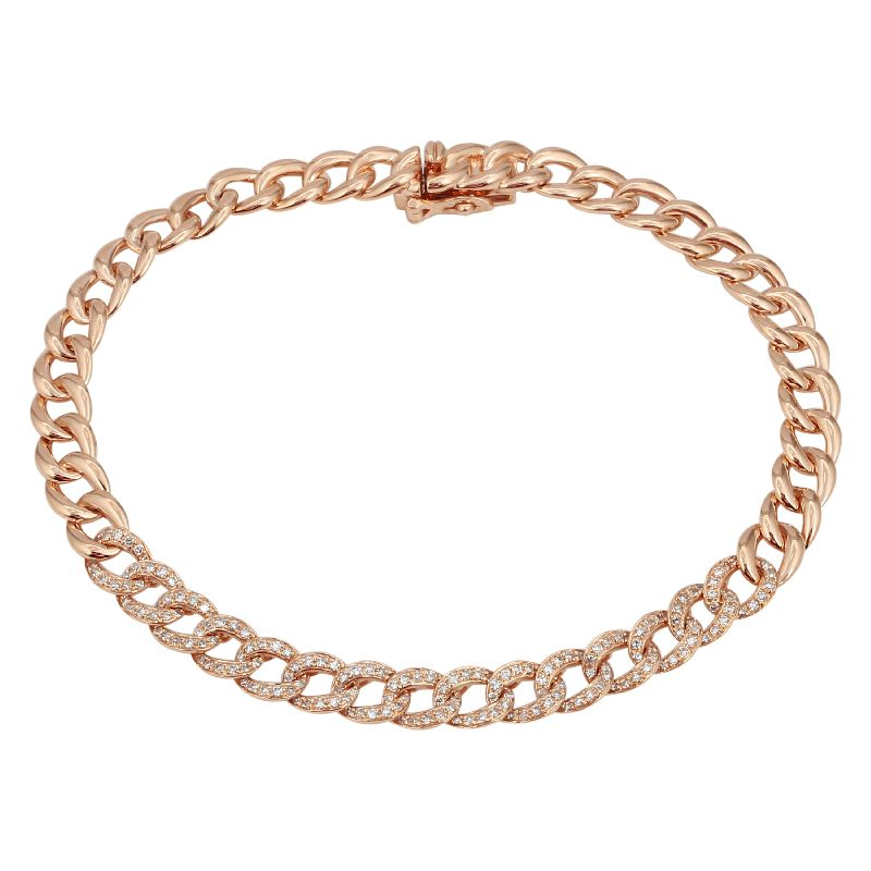 Small Diamond Cuban Chain Bracelet