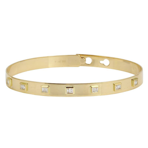 Clip On Baguette Diamond Bangle