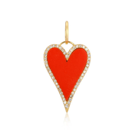 Coral Heart Charm