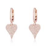Dangling Pave Modern Heart Hoop Earrings