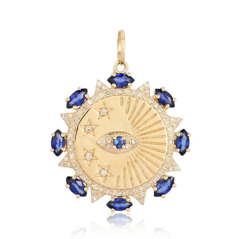 Evil Eye and Star With Blue Sapphire Medallion Charm