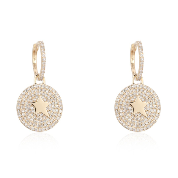 Earring with Pave Hanging Disc with Star detail