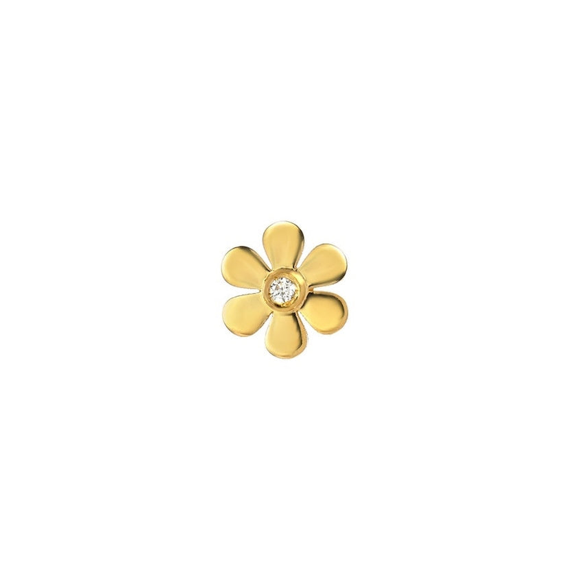 Flower with Small Diamond Charm