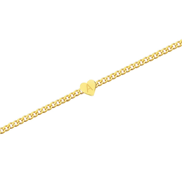 Gold Heart Cuban Chain Bracelet