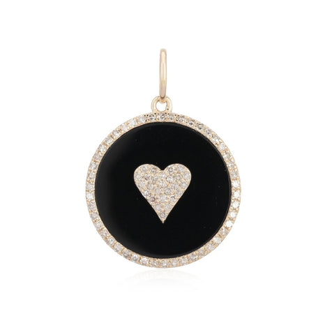 Pave Heart on Black Onyx Charm