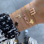 Gold Initials and Bezel Paperclip Bracelet