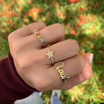 Diamond and Gold Initial Name Ring