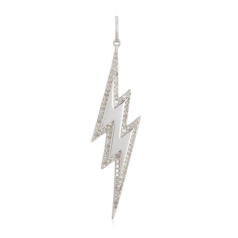 Modern Outline Pave Lightning Bolt