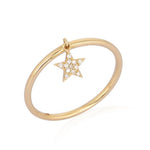 Pave Star Dangling Ring