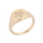 Pave Star Signet Ring