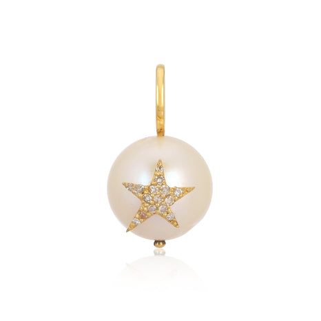 Pave Star on Pearl Charm