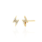 Mini Diamond Lighting Bolt Stud Earring