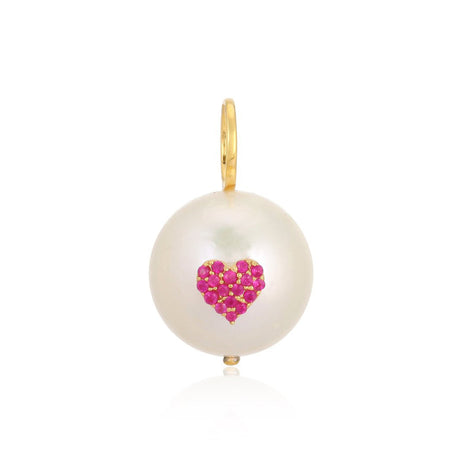Ruby Heart on Pearl Charm