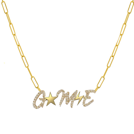 Pave Initials and Gold Charms Paperclip Necklace