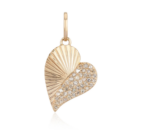 Heart Charm With Half Textured Gold Half Diamond