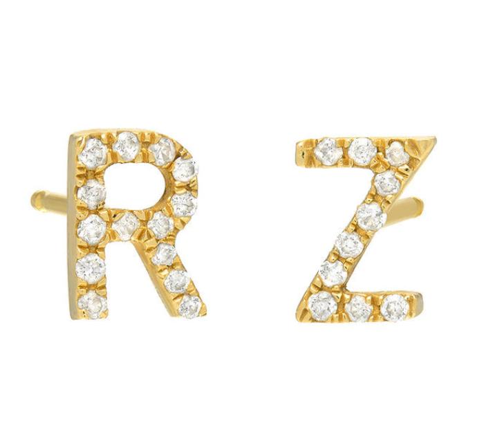 Initial Diamond Stud Earring