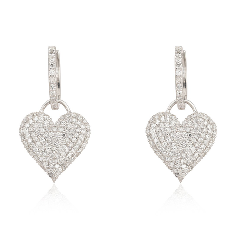 Small Pave Heart Charm Hoop Earring