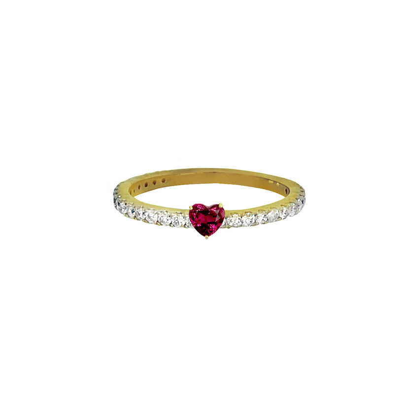 Heart Dark Pink Sapphire Pave Ring