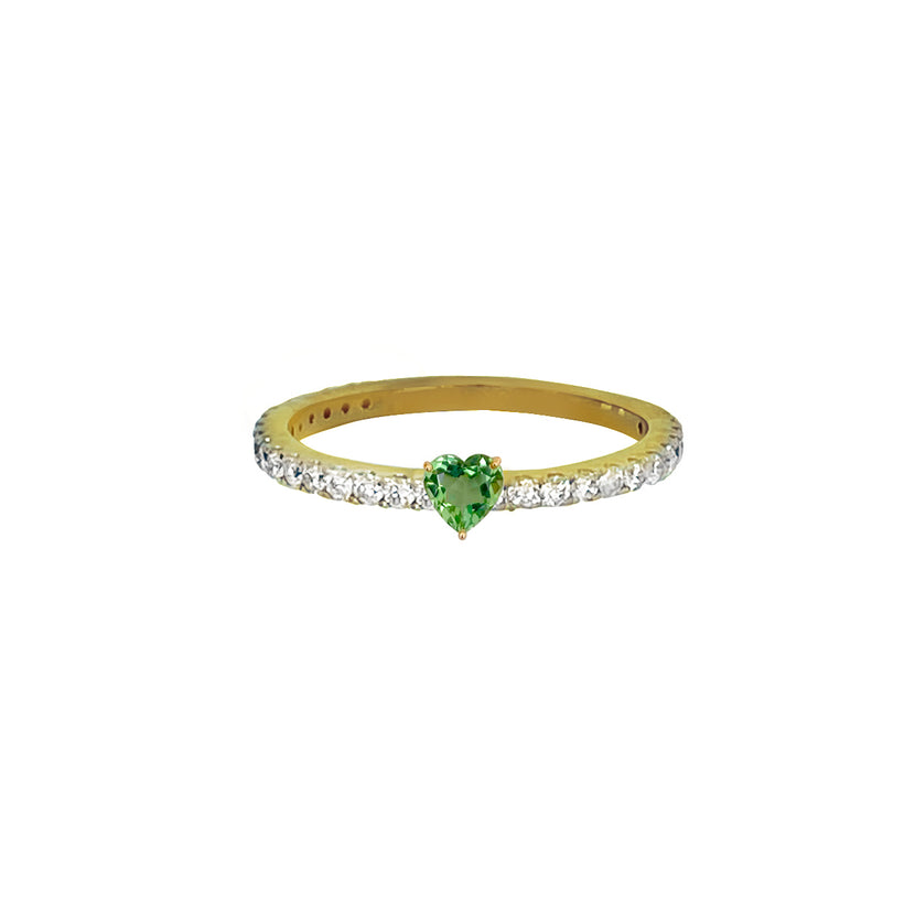 Heart Green Sapphire Pave Ring