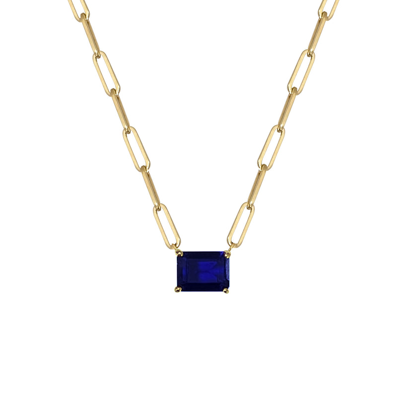 Iolite Emerald Cut Paperclip Necklace