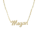 Diamond Name Paperclip Necklace
