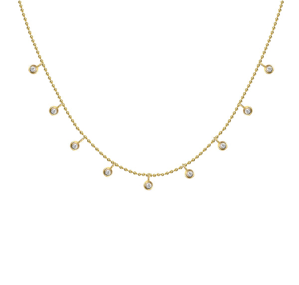 Dangling Bezels and Ball Chain Necklace