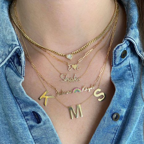 XL Dangling Gold Letters Necklace
