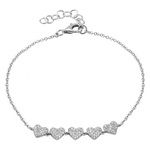 Five Pave Hearts Bracelet