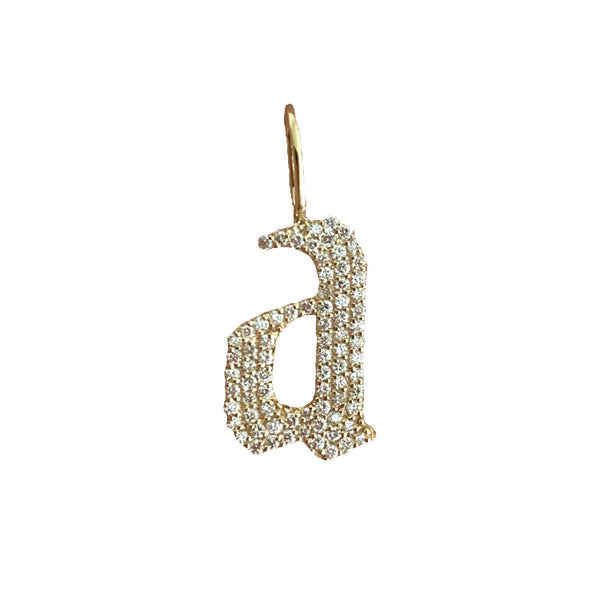 Large Pave Gothic Initial Charm