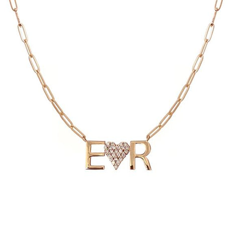 Gold Initials and Pave Heart Paperclip Necklace