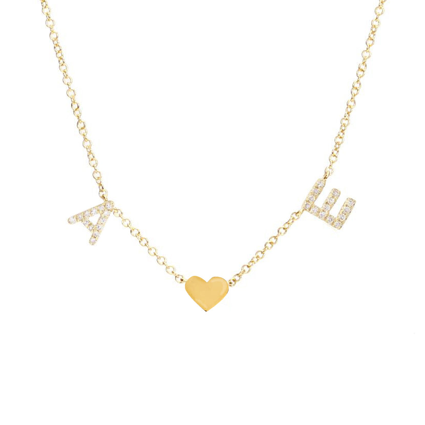 Pave Initials and Gold Charm Necklace