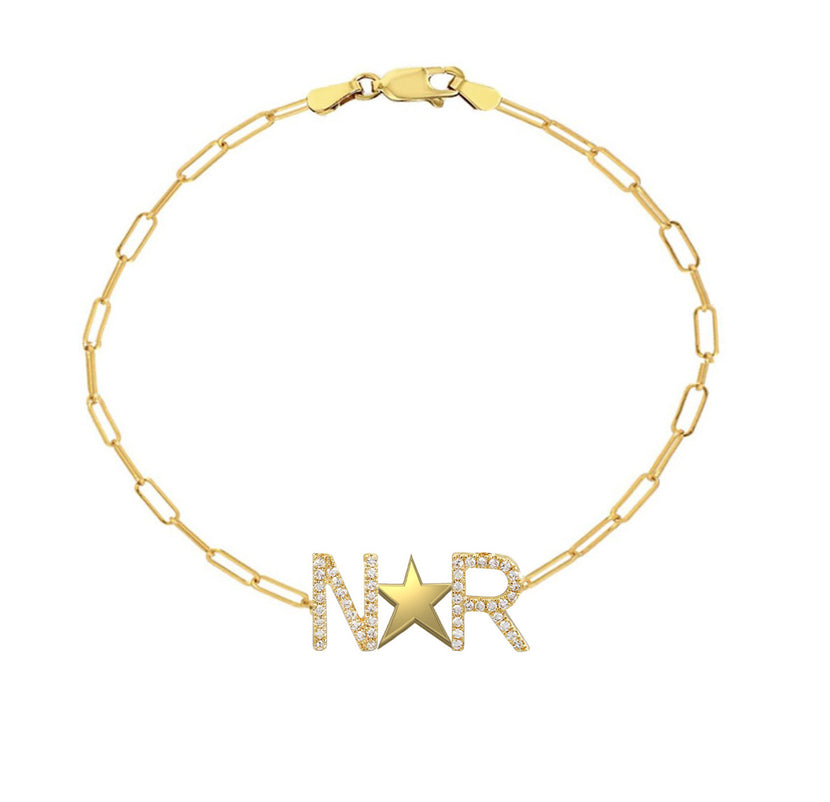 Pave Initials and Gold Star Paperclip Bracelet