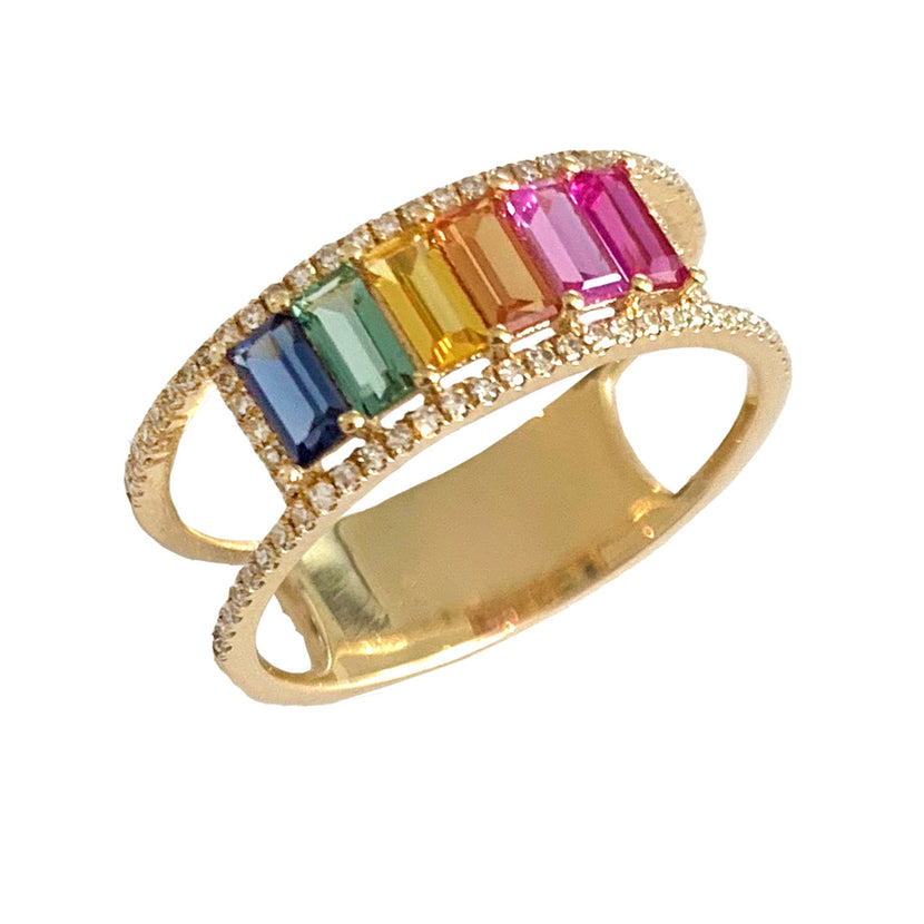 Rainbow Baguette and Double Band Pave Ring