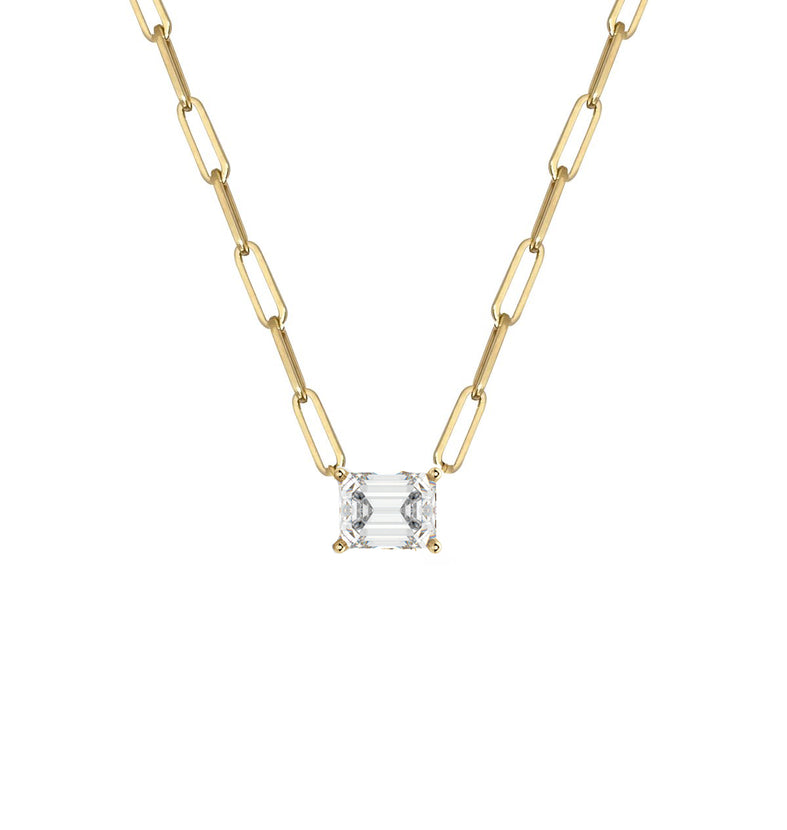 White Topaz Emerald Cut Paperclip Necklace