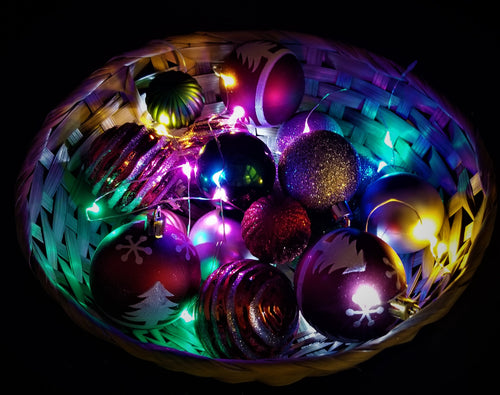 Hand Crafted - 10 Inch Round Bamboo Basket with Ornaments and Multi-Colored Fairy Lights