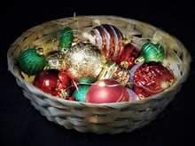 10 Inch Round Bamboo Basket with Ornaments and Warm White Fairy Lights