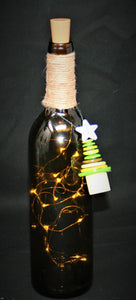 Antique Green Wrapped Wine Bottle with Fairy Lights