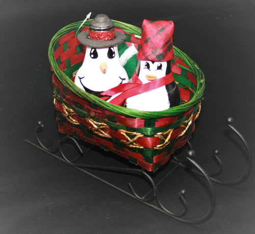 Small Sleigh Basket with Black Rails with Penguin and Snowman