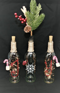 Set of 3 Clear JOY Wine Bottles with Fairy Lights