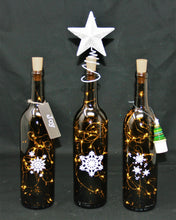 Set of Three Antique Green Wine Bottles with Fairy Lights